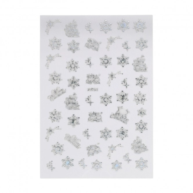 Christmas Sticker - Holographic Snowflakes & Merry Christmas
