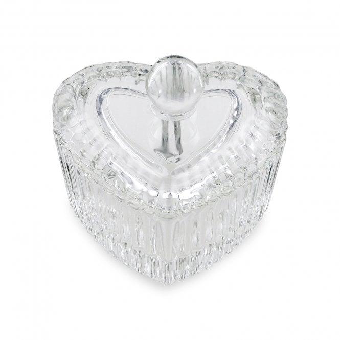 Crystal / Glass Dappen Dish & Lid - Heart Shape